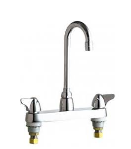 Chicago Faucets - 1100-GN1AE3ABCP - 8-inch Center Deck Mounted Sink Faucet