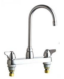 Chicago Faucets - 1100-GN2AE3VPAXKCP - 8-inch Center Deck Mounted Sink Faucet