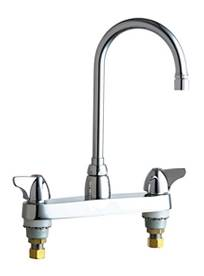 Chicago Faucets - 1100-GN2AE3VPAXKAB - 8-inch Center Deck Mounted Sink Faucet
