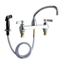 Chicago Faucets - 1102-L9-369ABCP - 8-inch Center Deck Mounted Sink Faucet with Side Spray