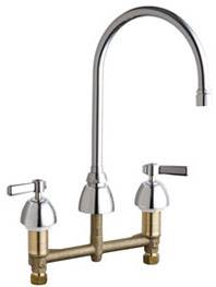 Chicago Faucets 201-RSGN8AE35VPXKABCP - 8-inch Center Concealed Kitchen Sink Faucet, Less Side Spray