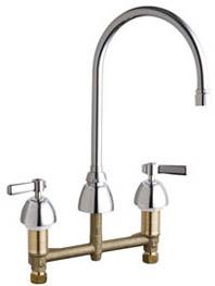 Chicago Faucets 201-RSGN8AE3VPCP - 8-inch Center Concealed Kitchen Sink Faucet, Less Side Spray