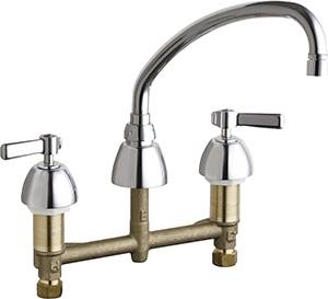 Chicago Faucets 201-RSL9E3VPXKABCP - 8-inch Center Concealed Kitchen Sink Faucet, Less Side Spray