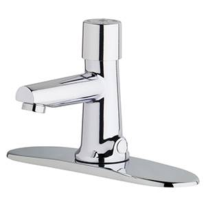 Chicago Faucets 3501-8E2805ABCP - 8-inch Center Hot and Cold Water Metering Mixing Sink Faucet