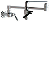 Wall mounted Chicago pot filler faucet with 18inch double joint swing spout.