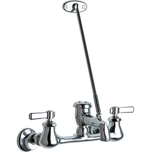 The Chicago Faucets 540-LD897SCP Wall Mounted Service Sink Faucet with Hose Thread Vacuum Breaker and Pail Hook for your service or mop sink. The 897 style spout has a 3/4 hose thread outlet you can attach to any garden hose.