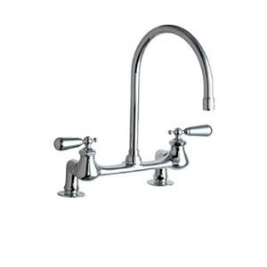 Chicago Faucets - 540-LDGN8AE3-374SSJKABCP - 8-inch Bridge Style Kitchen Faucet