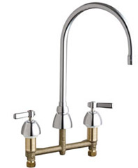 Chicago Faucets - 786-GN8AE3-369ABCP - Widespread Lavatory Faucet