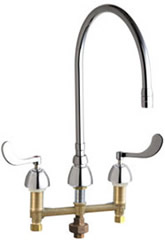 Chicago Faucets - 786-TWGN10AE3SWGAB - Widespread Lavatory Faucet with Third Water Inlet