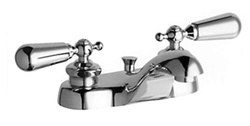 "Chicago Faucet 797-D374CPR 4"" Center Lavatory Faucet with Pop-UP Drain and Decorative Lever Handles"