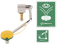 Chicago Faucets 8010-NF - Deck Mounted Swing Down Eye and Face Wash with Push Paddle Handle