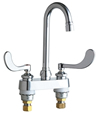 Chicago Faucets 895-317E2805-5ABCP 4 inch Center Deck Mounted Sink Faucet with Rigid/Swing Gooseneck Spout, 0.5 GPM (1.9 L/min) Vandal Resistant Spray Outlet, Indexed Wristblade Handles and Quaturn™ Cartridges