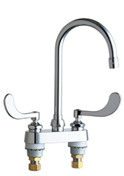 Chicago Faucets 895-317GN2AE3XKAB 4 inch Center Deck Mounted Sink Faucet with Rigid/Swing Gooseneck Spout, 2.2 GPM Pressure Compensating Softflo® Aerator, Indexed Wristblade Handles and Ceramic Disc Cartridges