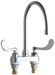 Chicago Faucets 895-317GN8AE29VPAB 4 inch Center Deck Mounted Sink Faucet with large Rigid/Swing Gooseneck Spout, Vandal Resistant 2.2 GPM Pressure Compensating Laminar Flow Outlet, Indexed Wristblade Handles and Quaturn™ Cartridges