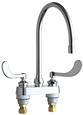Chicago Faucets 895-317GN8AE3ABCP 4 inch Center Deck Mounted Sink Faucet with large Rigid/Swing Gooseneck Spout, 2.2 GPM Pressure Compensating Softflo® Aerator, Indexed Wristblade Handles and Quaturn™ Cartridges