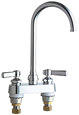 Chicago Faucets 895-GN2FCABCP 4 inch Center Deck Mounted Sink Faucet with Rigid/Swing Plain End Gooseneck Spout, 1.6 GPM Laminar Flow Control Device in Spout, Indexed Lever Handles and Quaturn™ Cartridges