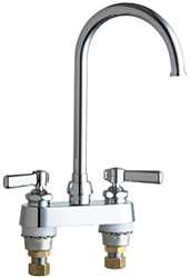 Chicago Faucets 895-GN2FCXKABCP 4 inch Center Deck Mounted Sink Faucet with Rigid/Swing Gooseneck Spout, 1.6 GPM Laminar Flow Control Device in Spout, Indexed Lever Handles and Ceramic Disc Cartridges