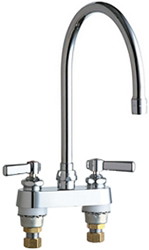 Chicago Faucets 895-GN8AE3ABCP 4 inch Center Deck Mounted Sink Faucet with large Rigid/Swing Gooseneck Spout, 2.2 GPM Pressure Compensating Softflo® Aerator, Indexed Lever Handles and Quaturn™ Cartridges