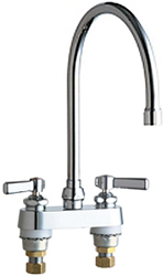 Chicago Faucets 895-GN8AE3VPAABCP 4 inch Center Deck Mounted Sink Faucet with large Rigid/Swing Gooseneck Spout, Vandal Resistant 2.2 GPM Pressure Compensating Softflo® Aerator, Indexed Lever Handles and Quaturn™ Cartridges