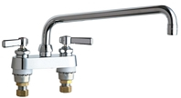 Chicago Faucets 895-L12ABCP 4 inch Center Deck Mounted Sink Faucet with 12 inch Swing Spout, 2.2 GPM Pressure Compensating Softflo® Aerator, Indexed Lever Handles and Quaturn™ Cartridges