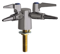Chicago Faucets 982-VR909CAGSAM - Turret with Two Ball Valves at 90 Degrees with Chemical Resistant Satin Antimicrobial Finish