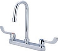 Central Brass 0122-GSAEL - Two Handle Cast Brass Kitchen Faucet with Gooseneck Swivel Spout