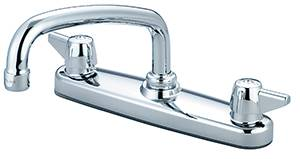 "Central Brass 0146-A - Two Handle Shell Type Kitchen Faucet with 8"" Tube Swivel Spout and Canopy Handles"