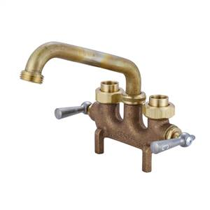 Central Brass 0465 - Cast Brass Laundry Faucet on 3 1/2-inch centers, 1/2-14 NPSF (Dryseal) female coupling union connections, 6-inch tube spout with hose end, straddle legs.