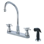 Central Brass 80123-TSA1C2 - Two Handle Cast Brass Kitchen Faucet with Tri-Arc Spout, Cross Handles and Side Spray