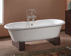 Cheviot 2111-W - Regal Cast Iron Bath with Continuous Rolled Rim - Wooden Base