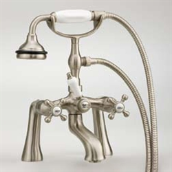Cheviot 5106AB - RIM MOUNT TUB FILLER WITH HAND SHOWER-CROSS HANDLES-ANTIQUE BRONZE