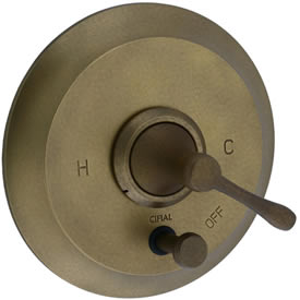 Cifial 244.611.V05 - Brookhaven Pressure Balance Mixing Valve Trim with Diverter, With Barrel Lever  - Aged Brass