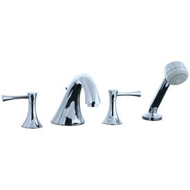 Cifial 245.645.625 - Brookhaven 4pc Roman Tub Filler Faucet Trim with Crown Levers - Polished Chrome
