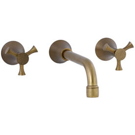 Cifial 246.156.V05 - Brookhaven Wall Mounted Lavatory Faucet Crown Cross - Aged Brass