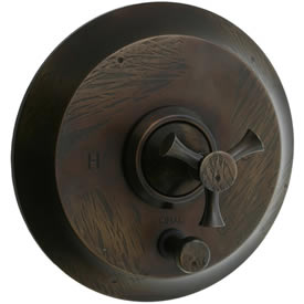 Cifial 246.611.R15 - Brookhaven Pressure Balance Mixing Valve Trim with Diverter Crown Cross - Rough Bronze