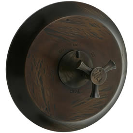Cifial 246.616.R15 - Brookhaven Thermostatic Valve Trim without Volume Control, with Crown Cross - Rough Bronze