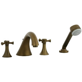 Cifial 246.645.V05 - Brookhaven 4pc Roman Tub Crown Cross - Aged Brass