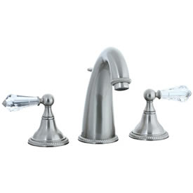 Cifial 255.150.620 - Brunswick Crystal Handle Hi-arch Widespread Lavatory Faucet -Satin Nickel