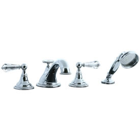 Cifial 255.645.625 - Brunswick Crystal Handle 4-pc. Teapot Roman Tub Faucet Trim - Polished Chrome