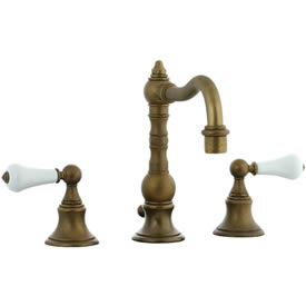 Cifial 262.130.V05 - High Porcelain Lever Pillar Widespread Lavatory Faucet - Aged Brass