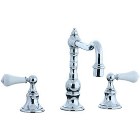 Cifial 262.250.625 - High Porcelain Handle Pillar Kitchen Widespread Faucet without Spray - Polished Chrome