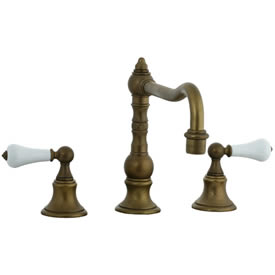 Cifial 262.250.V05 - High Porcelain Handle Pillar Kitchen Widespread Faucet without Spray - Aged Brass