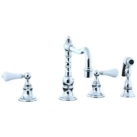 Cifial 262.255.625 - High Porcelain Lever Pillar Kitchen Widespread Faucet with spray - Polished Chrome
