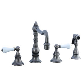 Cifial 262.255.D20 - High Porcelain Lever Pillar Kitchen Widespread Faucet with spray -Distressed Nickel