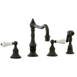 Cifial 262.255.W30 - High Porcelain Lever Pillar Kitchen Widespread Faucet with spray -Weathered