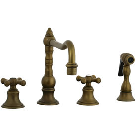 Cifial 267.255.V05 - High Pillar Kitchen Widespread Faucet with spray - Aged Brass