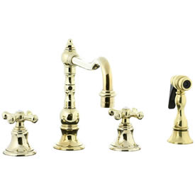 Cifial 267.255.X10 - High Pillar Kitchen Widespread Faucet with spray -PVD Brass