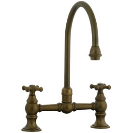 Cifial 267.270.V05 - High Gooseneck Bridge Kitchen or Bar Faucet - Aged Brass