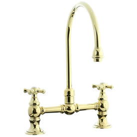 Cifial 267.270.X10 - High Gooseneck Bridge Kitchen or Bar Faucet - PVD Brass