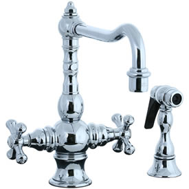 Cifial 267.355.625 - High T-body 1-hole Kit Faucet with Spray Cross Handle- Polished Chrome